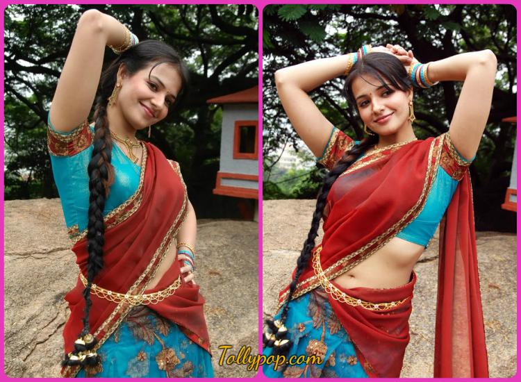 Actress wearing Half-Saree