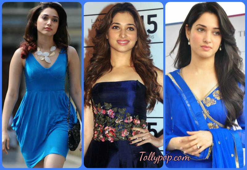 Actress wearing blue dress